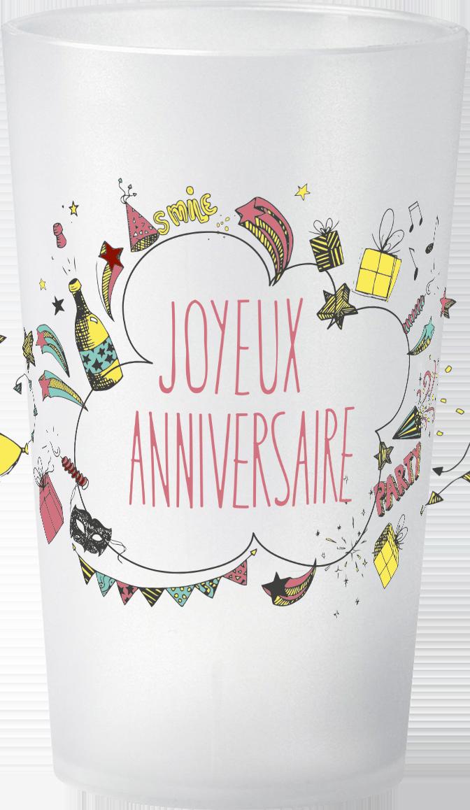 gobelet Petit-prix-Anniversaire-Joyeux-Anniversaire-Jaune&Rouge